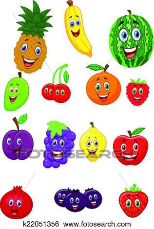 Fruit Dessin clipart - fruit, dessin animé, caractère k22051356 - recherchez des