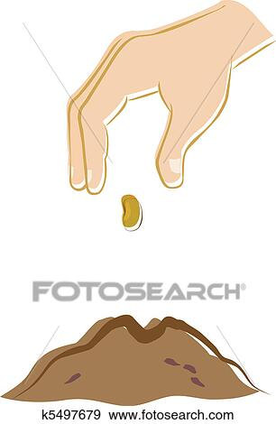 Clip Art of Hand Planting a Seed k5497679 - Search Clipart ...