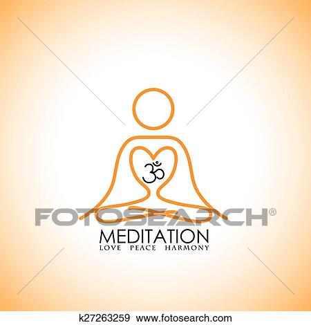 clip art of love of yoga meditation concept logo vector icon