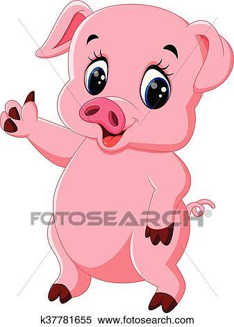 Mignon cochon dessin anim poser clipart k37781655 - Dessin cochon mignon ...