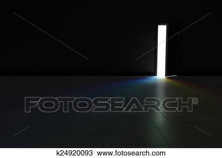 Puerta abierta, a, cuarto oscuro, con, brillante, arco irirs, luz, brillar,  en., ba Dibujo