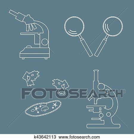 Clipart Of Stylized Icons Of Microscopes Magnifiers Amoeba