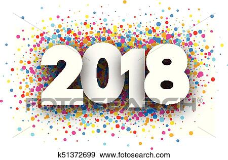 2018 new year background with colorful drops vector paper illustration