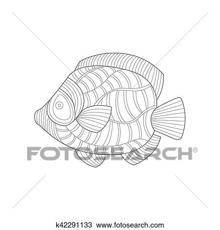 Angel Fish Sea Underwater Nature Adult Black And White Zentangle Coloring  Book Illustration Clipart