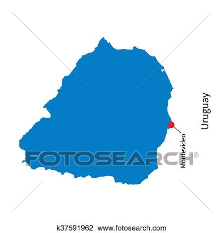 Clipart Of Detailed Vector Map Of Uruguay And Capital City