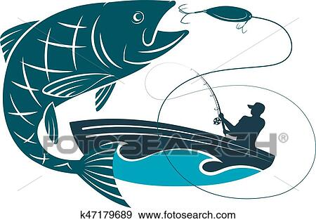 Fish Jumping For Bait And A Fisherman In A Boat Clip Art K47179689 Fotosearch