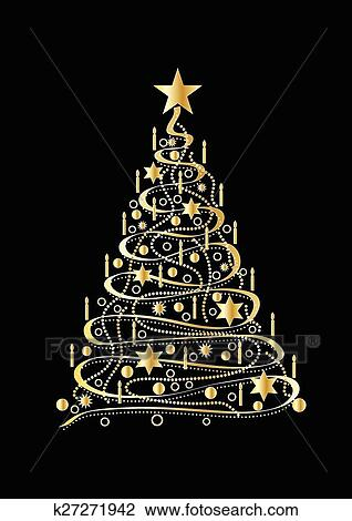 Gold Christmas Tree Clipart