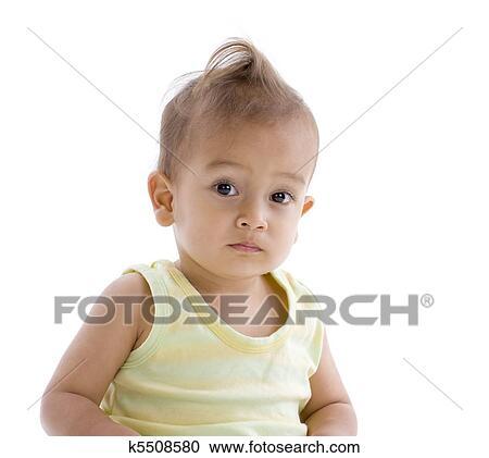 Kleiner Junge Mit Lustig Frisur Stock Bild