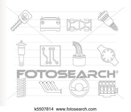 Clipart of Realistic Car Parts and Services k5507814 - Search Clip ...
