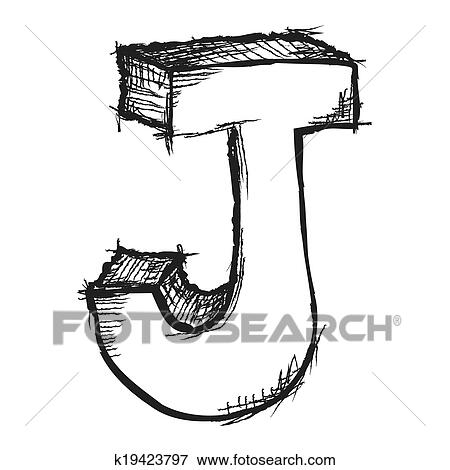 Stock Illustration Of Sketchy Hand Drawn Letter J Isolated On White