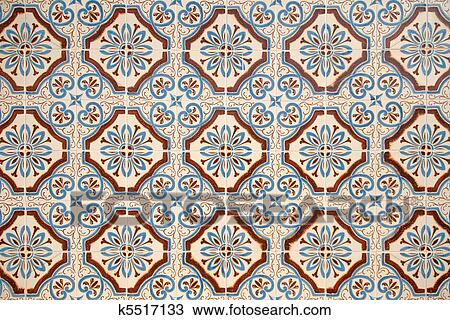 Stock Bild   Altmodisch, Spanischer Stil, Keramische Fliesen. Fotosearch