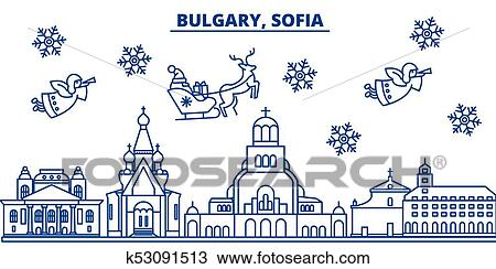 merry christmas happy new year decorated banner with santa clauswinter greeting line cardflat outline vector linear christmas snow illustration