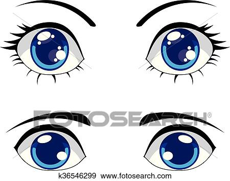 Clip Art Of Cute Stylized Eyes K36546299 Search Clipart