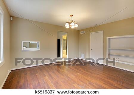 Dining room empty new with nice hardwood Stock Photo ...