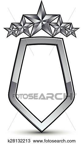 Festivo, vector, emblema, con, plata, contorno, y, cinco, pentagonal,  estrellas, 3d, real, conceptual, elemento del diseño, claro, eps 8