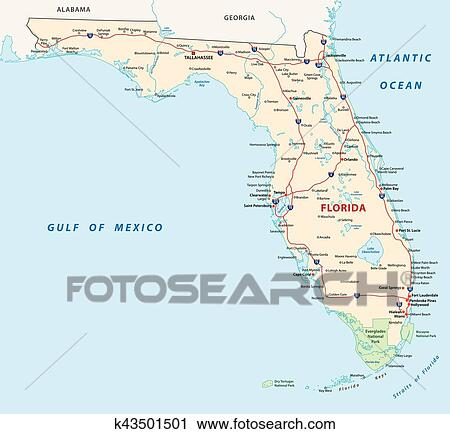 Florida Map With National Parks Clipart K43501501 Fotosearch