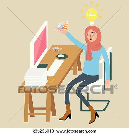 Frau Weiblich Graphikdesigner Kreativ Idee Auf Edv Auswahl