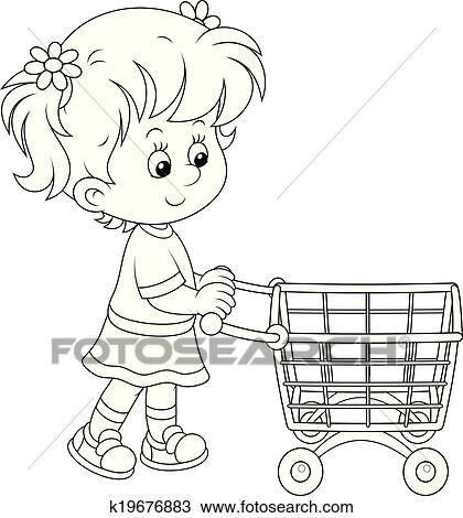 girls going shopping coloring pages | Clipart of Girl with a shopping trolley k19676883 - Search ...