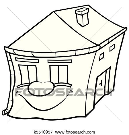 clip art of house with face k5510957 search clipart illustration Black and White Cartoon Food clip art house with face fotosearch search clipart illustration posters drawings