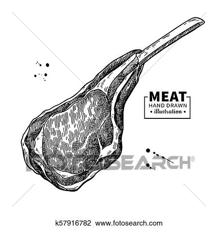 Lamb rib vector drawing. Red meat hand drawn sketch ...
