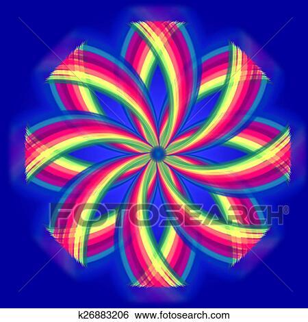 banque d 39 images mandala fleur couleurs arc en ciel cercles sur bleu k26883206. Black Bedroom Furniture Sets. Home Design Ideas