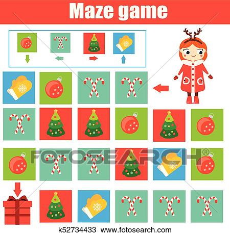 Maze game  Kids activity sheet  Logic labyrinth with code navigation  New  Year, Christmas theme Clipart