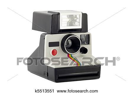 Stock Photography Of Old Polaroid Camera Isolated On White K5513551