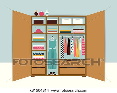 Clipart Of Open Wardrobe Wooden Closet With Tidy Clothes Shirts