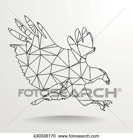 Polygonal Eagle Outline Clipart