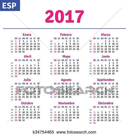 Calendario Spagnolo.Spagnolo Calendario 2017 Clipart