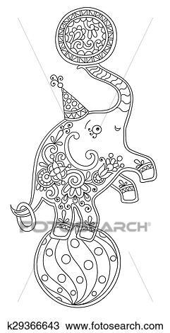 Strichzeichnung Abbildung Von Zirkus Thema Elefant Ausgleichen Auf A Clipart