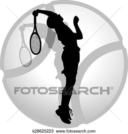 Clipart Of Tennis Server Silhouette K28625223