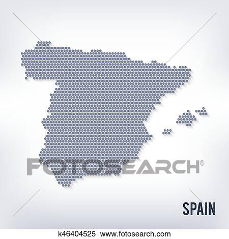 Vector hexagon map of Spainon a gray background Clipart