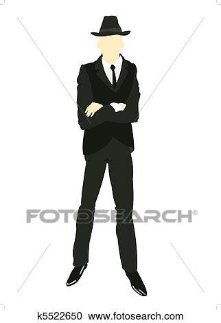 シルエット 男性 中に スーツとタイ クリップアート切り張り