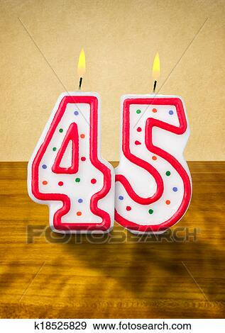 Burning Birthday Candles Number 45