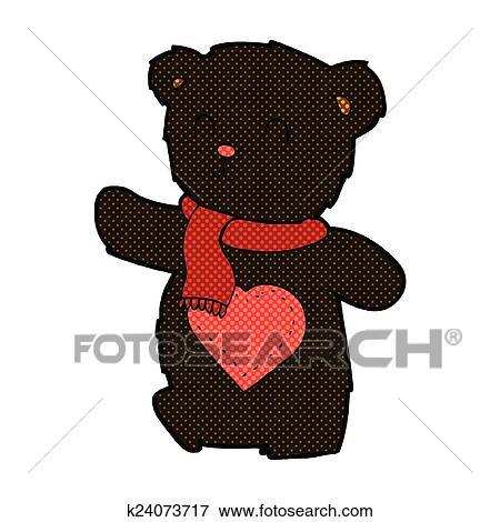 Comico cartone animato bianco orso teddy con amare cuore clip