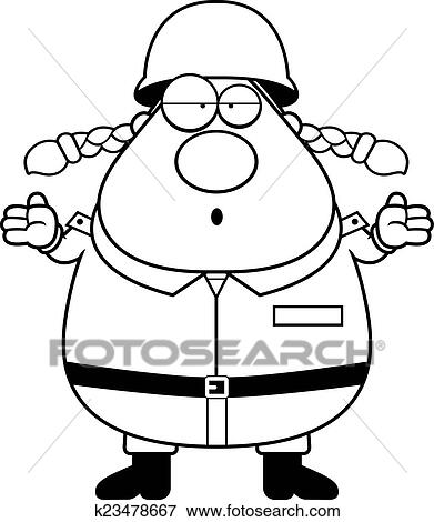 Clip Art Of Confused Woman Soldier K23478667