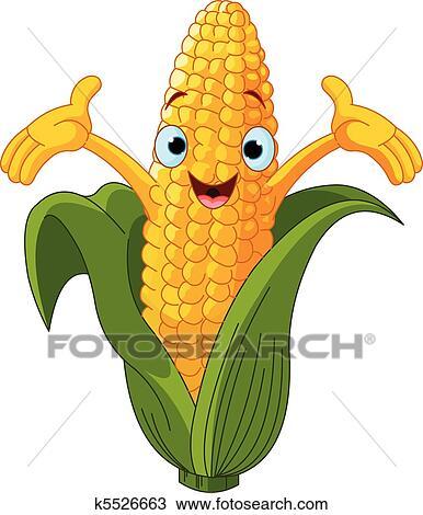 clipart of corn presenting somethin u043f k5526663 search clip art rh fotosearch com corn on the cob clip art free grilled corn on the cob clipart