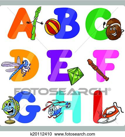 Cartoon Illustration Of Funny Capital Letters Alphabet With Objects For Language And Vocabulary Education Children From A To I