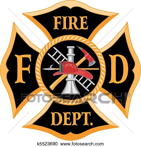 clipart of fire department maltese cross k5523690 search clip art rh fotosearch com