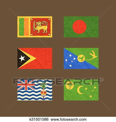 Christmas Island Flag.Flags Of Sri Lanka Bangladesh East Timor Christmas Island Cocos Islands And British Indian Ocean Territory Clip Art