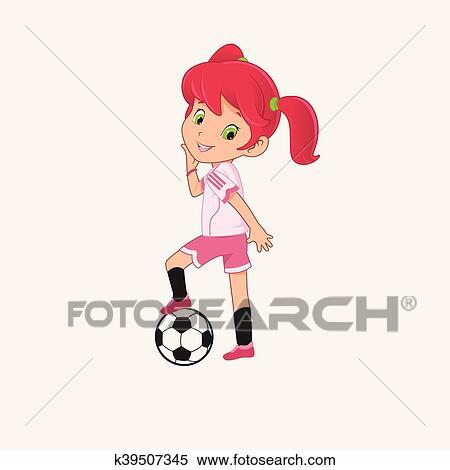 Fussball Madchen Clipart K39507345 Fotosearch