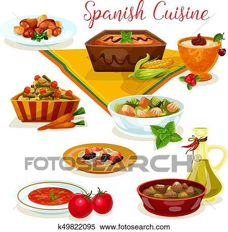 Spanish cuisine tasty dinner menu cartoon icon Clipart ...