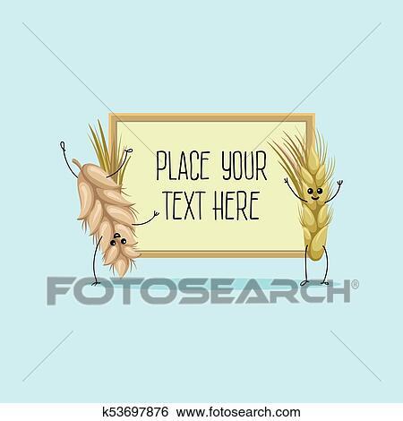 かわいい 小麦 そして ライ麦 耳 漫画 特徴 Hoding 旗 で