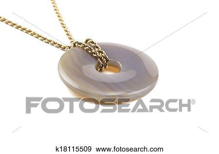 Stock Fotograf Blau Spitze Achat Stein Donut Auf Goldenes