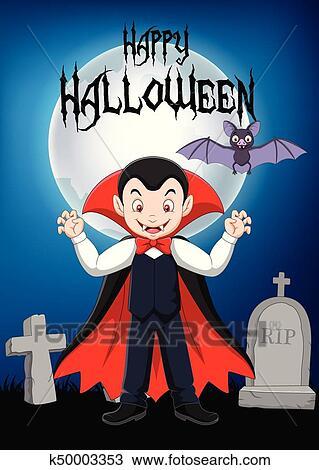 Clipart cartone animato vampiro standing con suo bagno