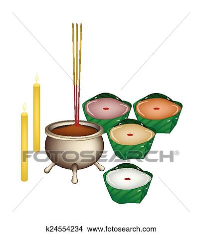 Chinese Pudding Or Sweetmeat Made With Joss Sticks And Candles For Pay Respect To God In New Year