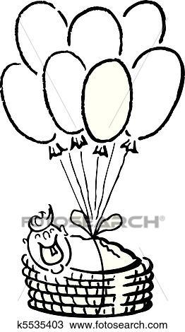 Clipart Of Newborn Baby Basket Balloons K5535403