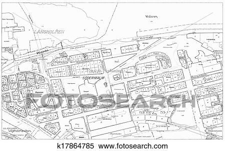 Stock illustration of old blueprint of part stockholm k17864785 old blueprint of of the cental parts of stockholm malvernweather Images