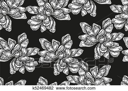 Seamless Pattern With Vintage Magnolia